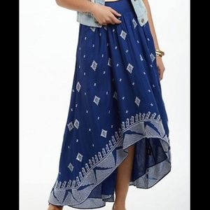 Anthro Blue High Low Skirt